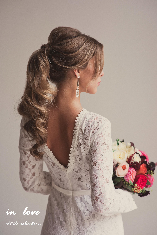 Вечерняя прическа с хвостом на длинные волосы