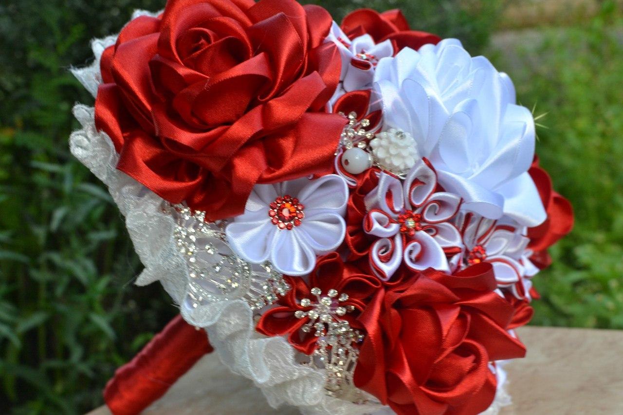 Букет невесты своими руками из атласных лент: инструкция и 65