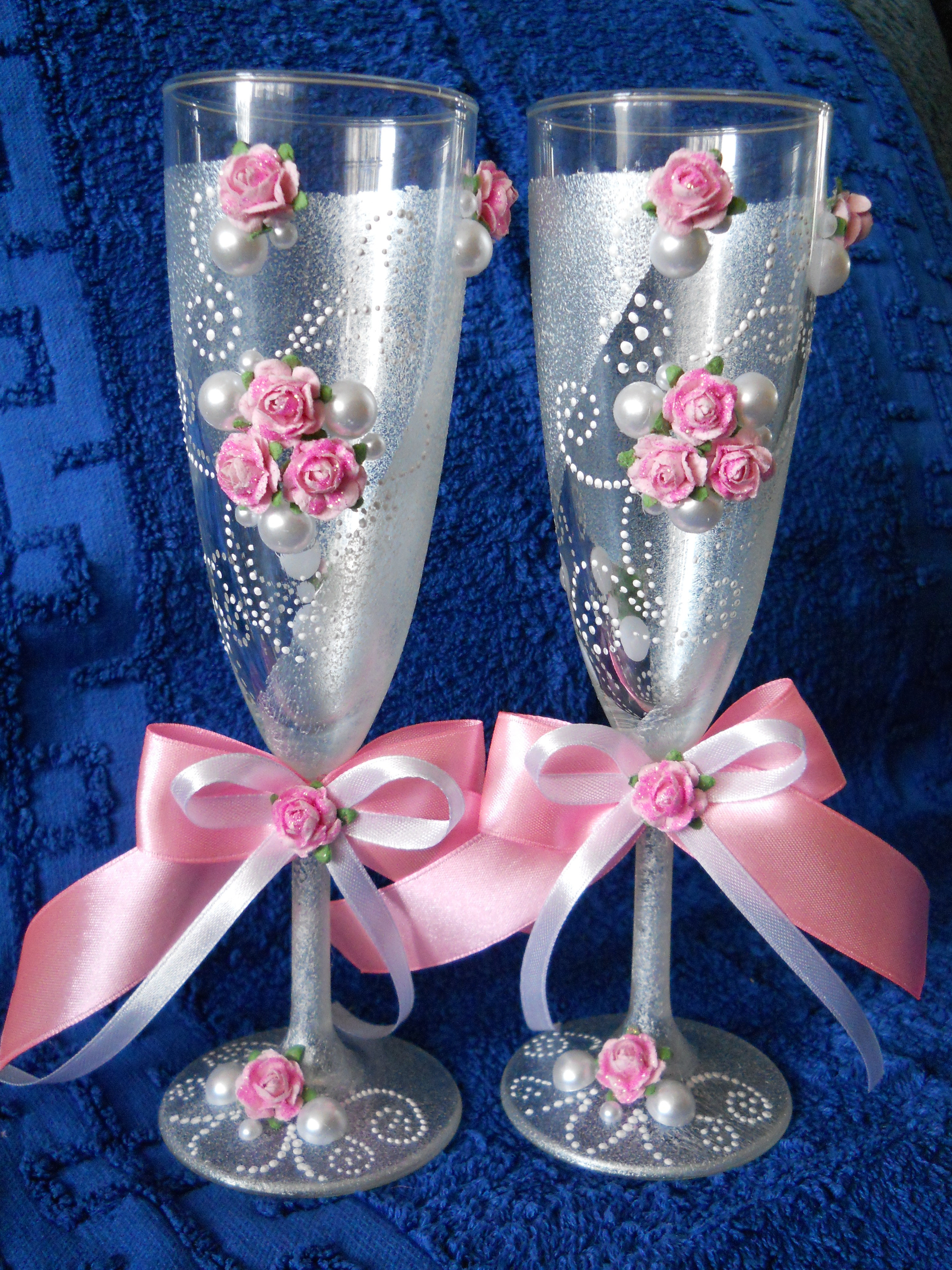 Украшение свадебных бокалов своими руками: 100 мастер классов 50