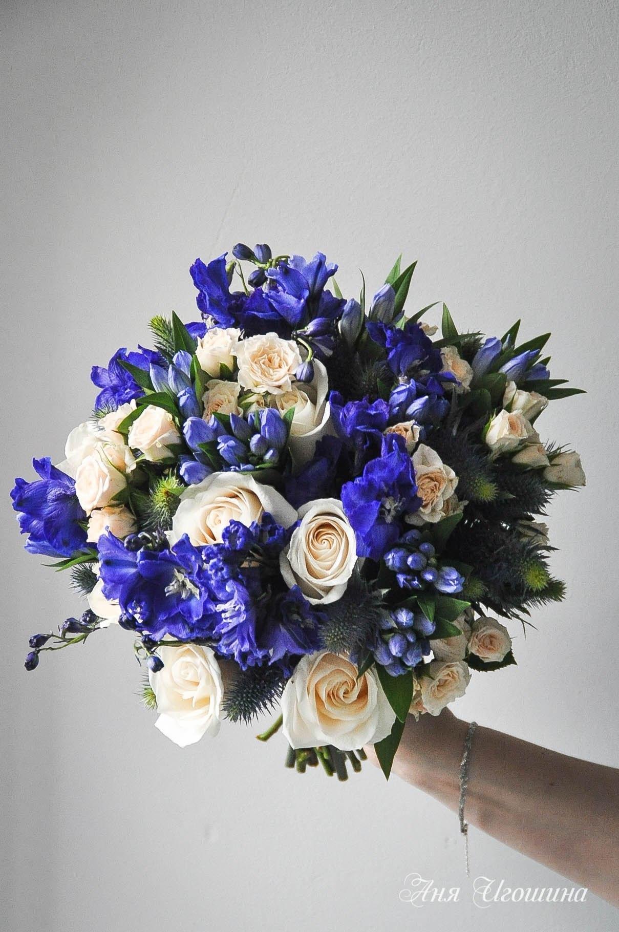 Красно-синие цветы букеты фото