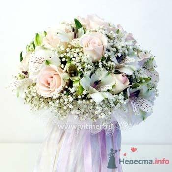 Букет невесты из кремовых роз и гипсофилы.  - фото 29 simik