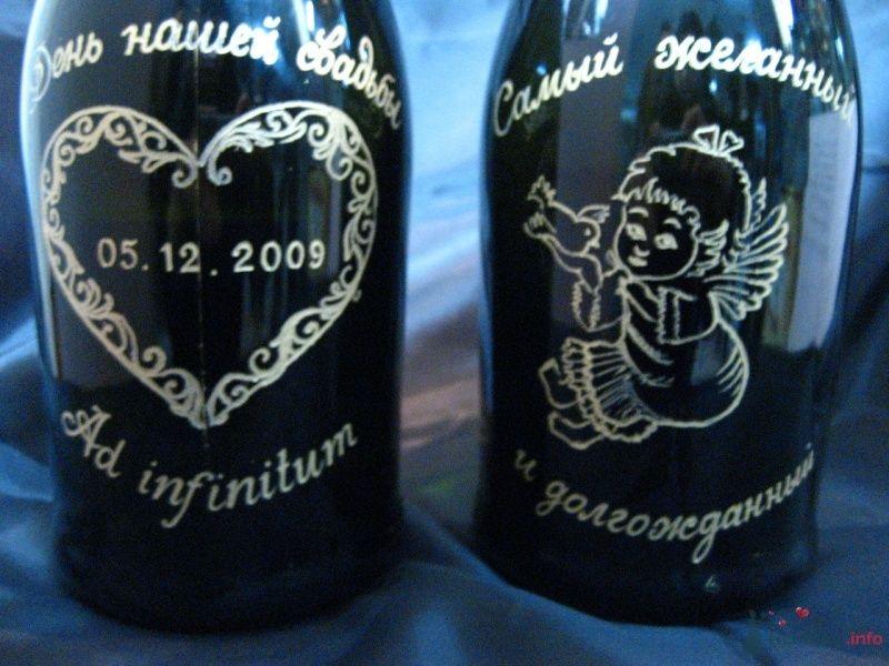 """Гравировка бутылок шампанского для молодожен - фото 66806 """"Свадебный Бум"""" - свадебные принадлежности"""