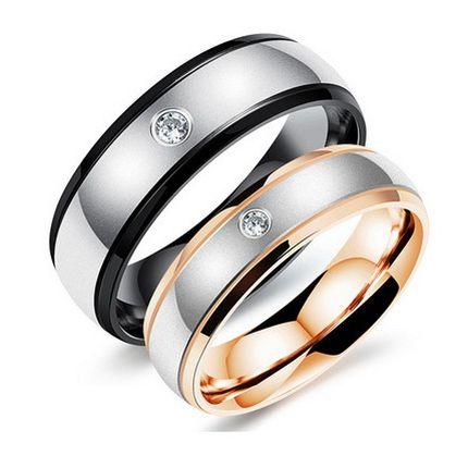 Парные обручальные кольца с цирконом