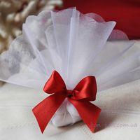 Бонбоньерка классическая-мешочек с красным бантом