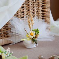 Бонбоньерка мешочек в стиле Рустик, с маргариткой и колосками