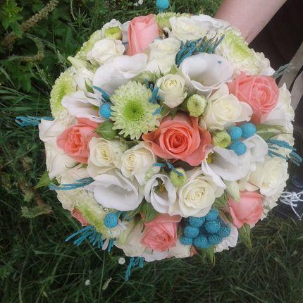 Букет невесты с бирюзовыми добавками