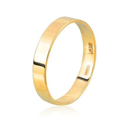 Кольцо обручальное плоское из желтого золота шириной 4 мм