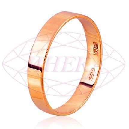 Кольцо обручальное плоское из красного золота