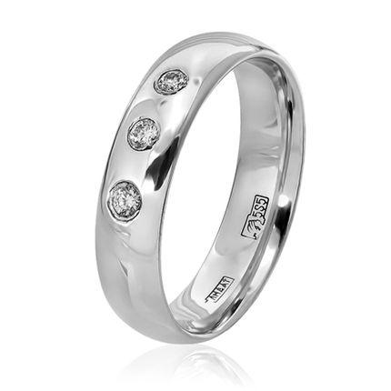 """Кольцо обручальное классическое """"Комфорт""""из белого золота с 3 бриллиантами"""
