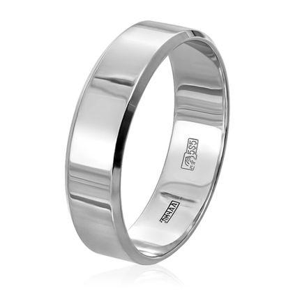 Обручальное кольцо плоское c алмазной фаской в белом золоте