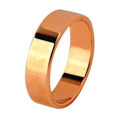 Кольцо обручальное плоское гладкое из красного золота, ширина 6 мм