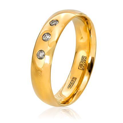 Обручальное кольцо Комфортное классическое с бриллиантами
