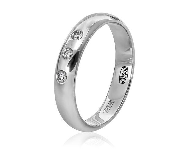 Обручальное кольцо из платины классическое с бриллиантами