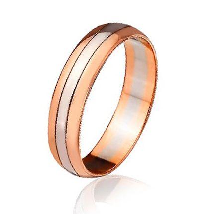 Обручальное кольцо двусплавное из красного и белого золота классическое