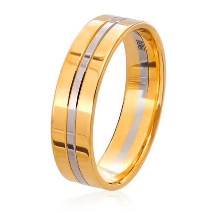 Обручальное кольцо комбинированное белое и жёлтое золото