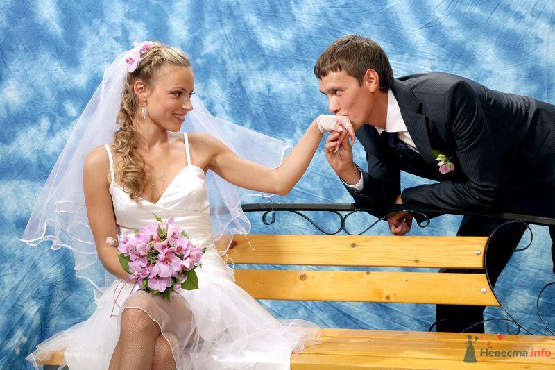 Невеста сидит на деревянной скамейке, а жених целует ее руку