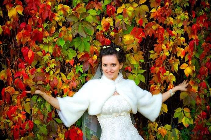Невеста в белом платье стоит на фоне желтых, красных и зеленых листьев - фото 73392 Фотограф Сергей Ежов