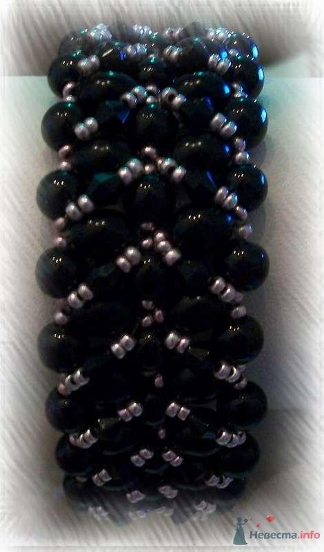 Браслет,Чешский бисер и бусины черные.  - фото 79253 Невеста01