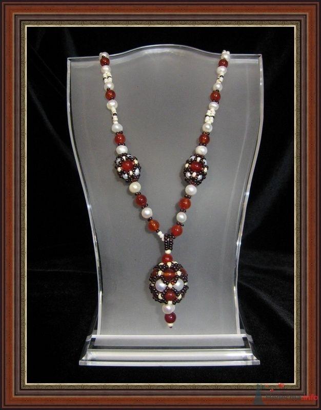 Подвеска сердоликовая, камень сердолик, жемчуг, бисер - фото 79306 Невеста01