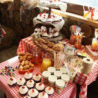 По желанию молодоженов оформляется десертный стол, который на празднике пользуется популярностью не только у детей, но и у достаточно взрослых гостей :)