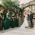 Церемония регистрации, подружки невесты в изумруде