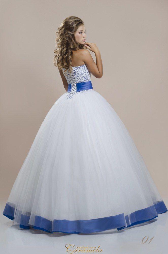 Бело синие свадебные платья