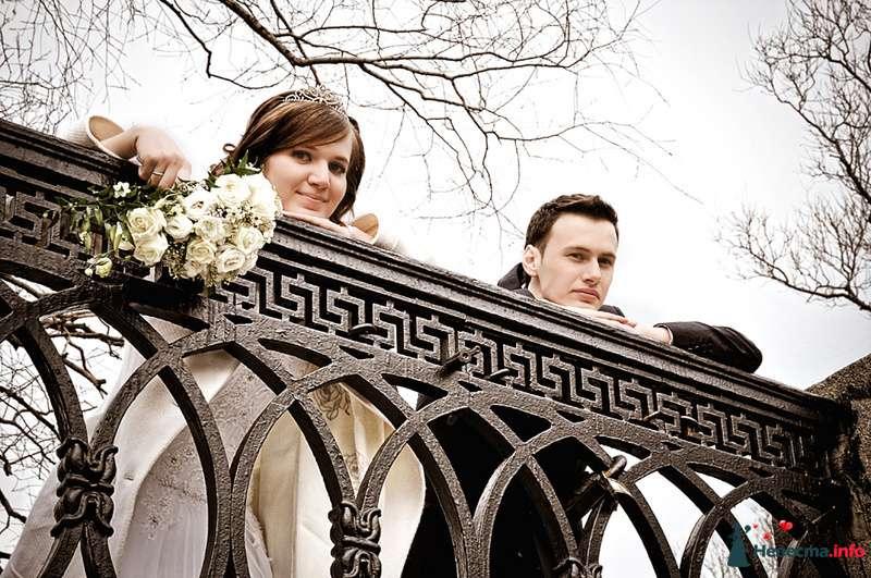 Жених и невеста с букетом цветов стоят вместе в парке - фото 93045 Фотограф Юлия Самохина