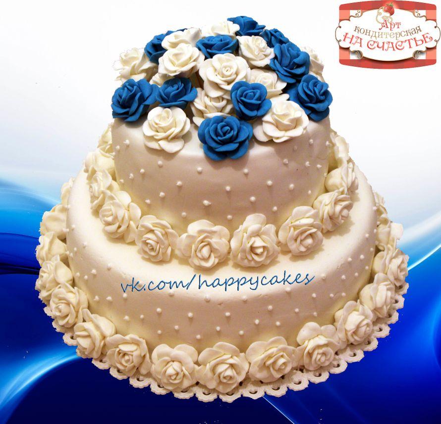 Свадебные торты мастика бело синий
