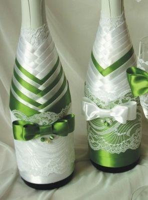 Свадебная бутылка шампанского своими руками из лент