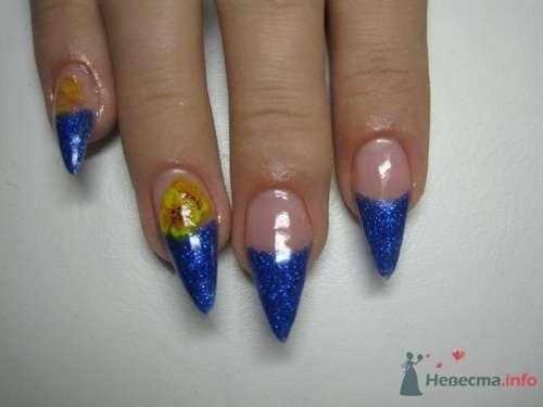 Синий френч - фото 6226 PerfectioNails - наращивание ногтей гелем и акрилом