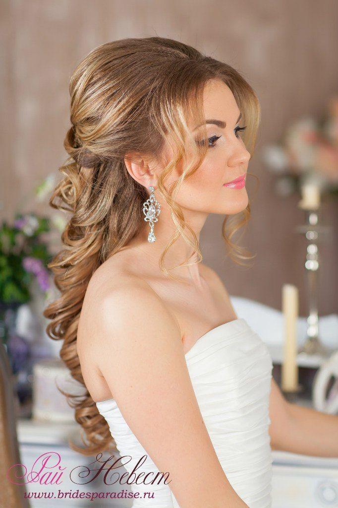 Полусобранные прически на свадьбах