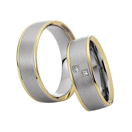 Матовые обручальные кольца из комбинированного золота на заказ