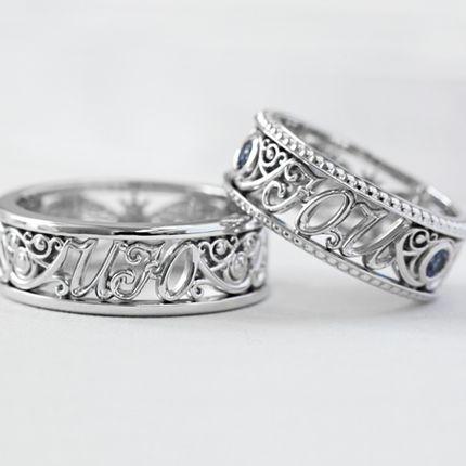 Обручальные кольца с инициалами в винтажном стиле (Арт 1553)