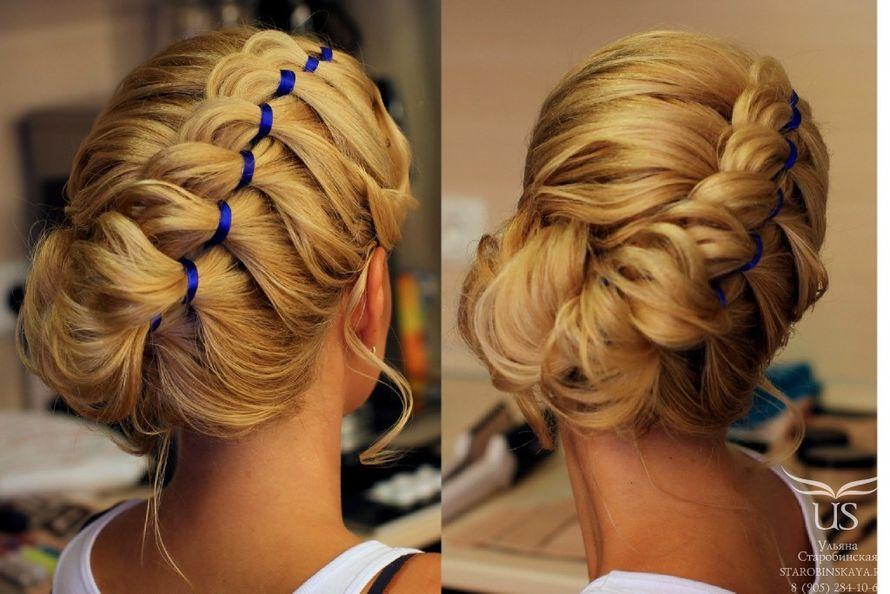 Прическа из кос с лентами