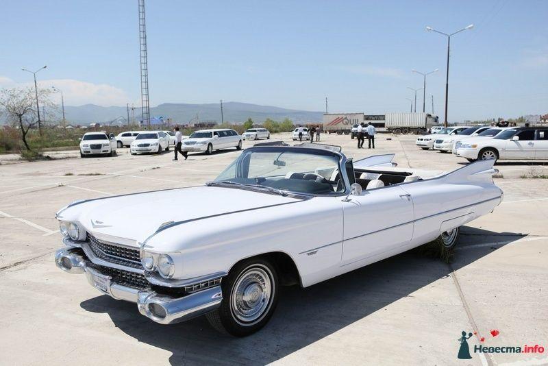 "Белый ""Cadillac Eldorado Biarritz Convertible"" на фоне автостоянки и зелени степи. - фото 103003 Компания ""КАРАВАН-СЕРВИС"""