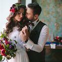 бохо, бохо-шик, бордовый, синий, жених и невеста, венок, букет