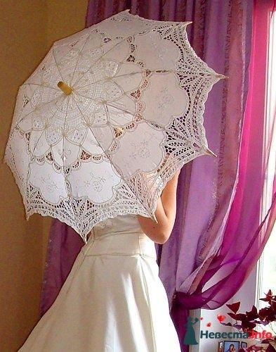 Белый кружевной зонт на прокат+веер - 600р +1000р залога - фото 114814 Платье для Золушки - прокат свадебных платьев