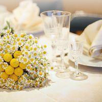 Букет невесты из ромашек и краспедий