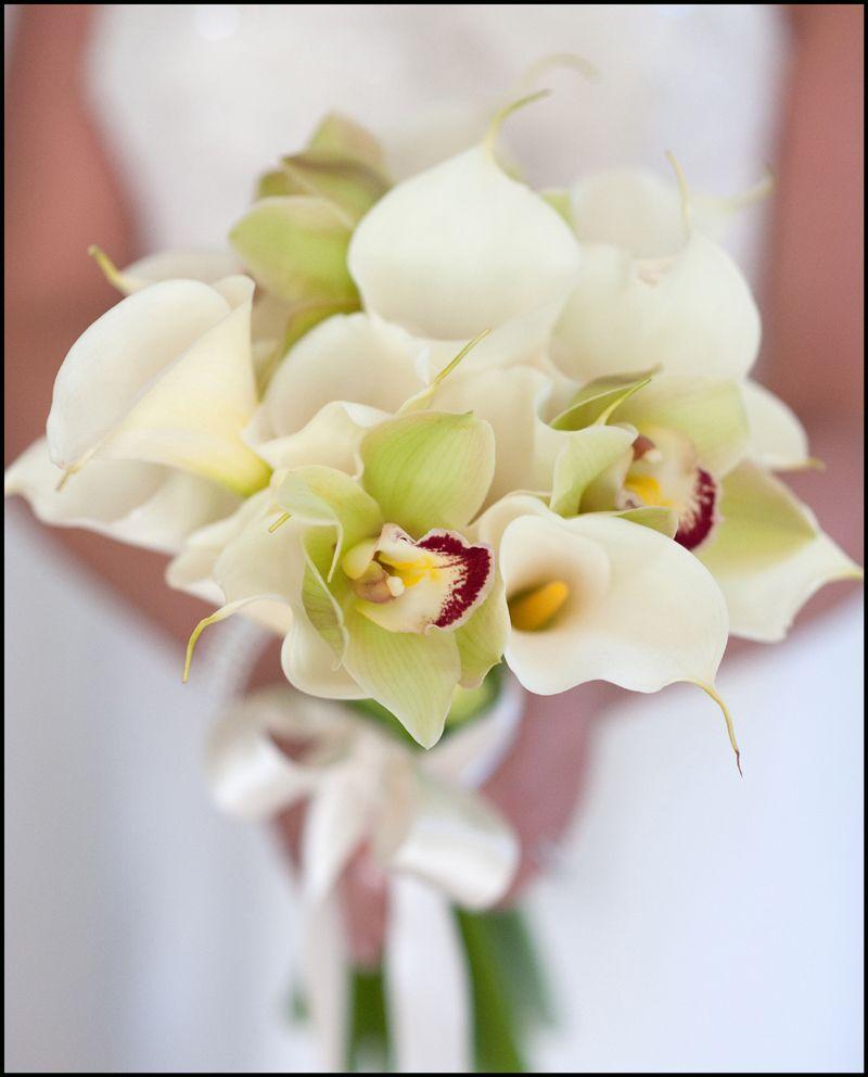 Букет невесты белый зеленый орхидея как делать