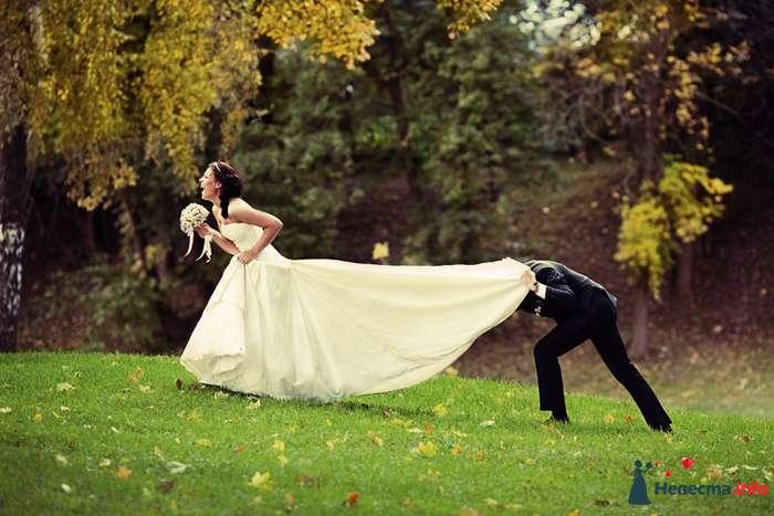"""Жених заглядывает под платье невеста в осеннем парке - фото 106939 """"Студия креативных фотографов"""""""