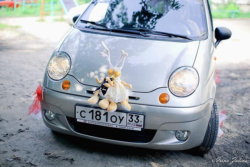 Серебристый автомобиль, украшенный парой смешных зверушек- игрушек в костюмах жениха и невесты.  - фото 767903 Ирина Золина - фотограф