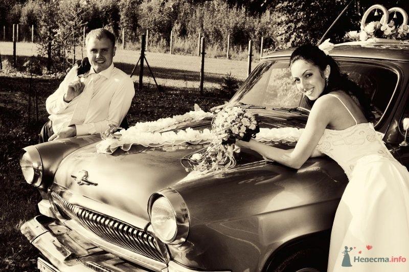 Жених и невеста стоят в парке возле машины - фото 59043 OlgaF