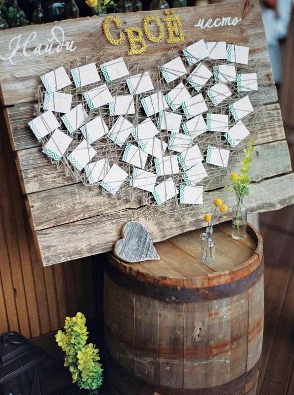 План рассадки гостей на свадебном банкете в виде карточек с номерами столов и именами гостей, оформленный как картина в виде - фото 3072149 marymonroy