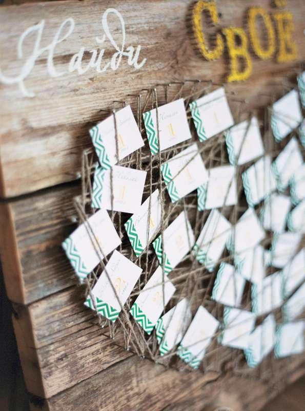 План рассадки гостей на свадебном банкете в виде карточек с номерами столов и именами гостей, оформленный как картина в виде - фото 3072151 marymonroy