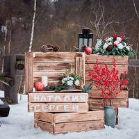 Зимняя выездная регистрация, декор в стиле рустик