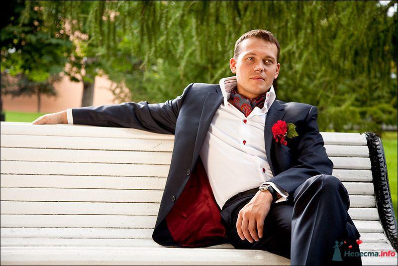 Синий костюм жениха с красной подкладкой, с белой рубашкой и красными - фото 83679 Tanuha
