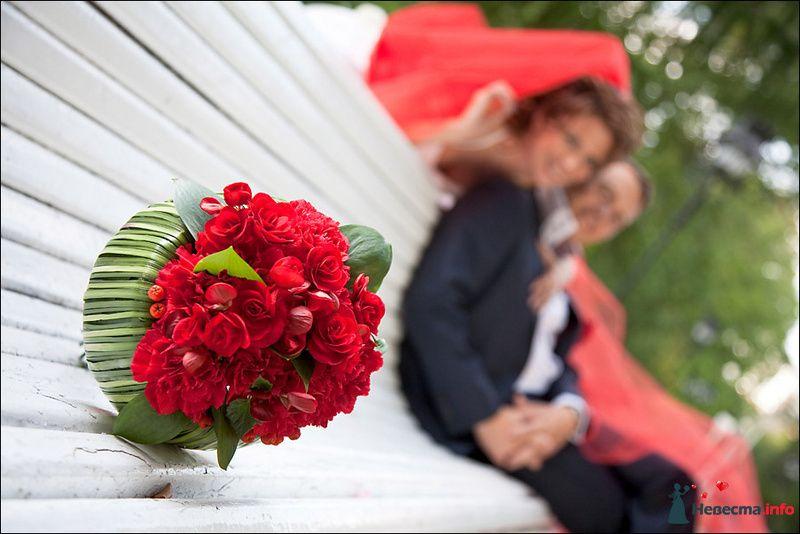 Букет невесты из красных роз и гвоздик, декорированный зелеными листьями  - фото 88244 Tanuha