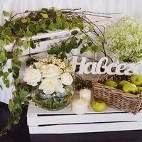 пионы, яблоки на свадьбе, дерево, ящики, березовые ветки, корзина с яблоками, бело-зеленая свадьба