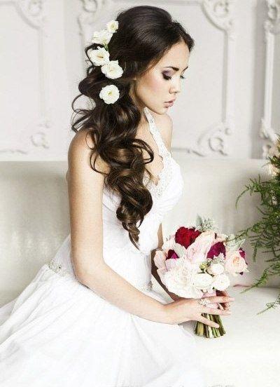 Свадебная причёска с цветами фото