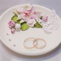 Блюдце для колец с цветами и бабочкой